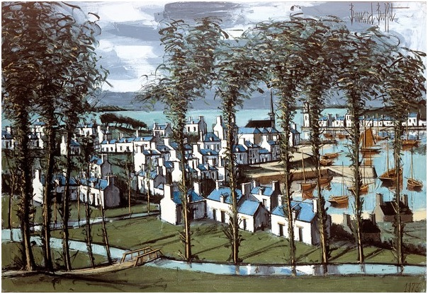 Audierne, vue sur le port (1973), oil on canvas, 89 x 130 cm, Musee Bernard Buffet