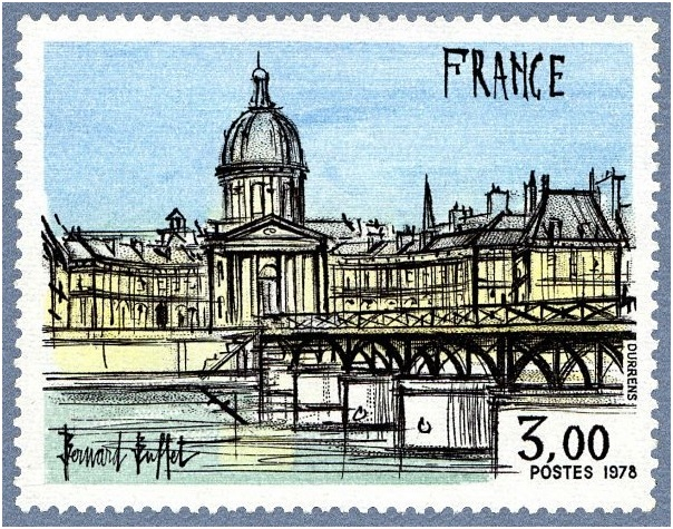 l'Institut et le Pont des Arts (1978), engraving for3 franc French postage stamp, 53 x 41 mm, Musee Bernard Buffet