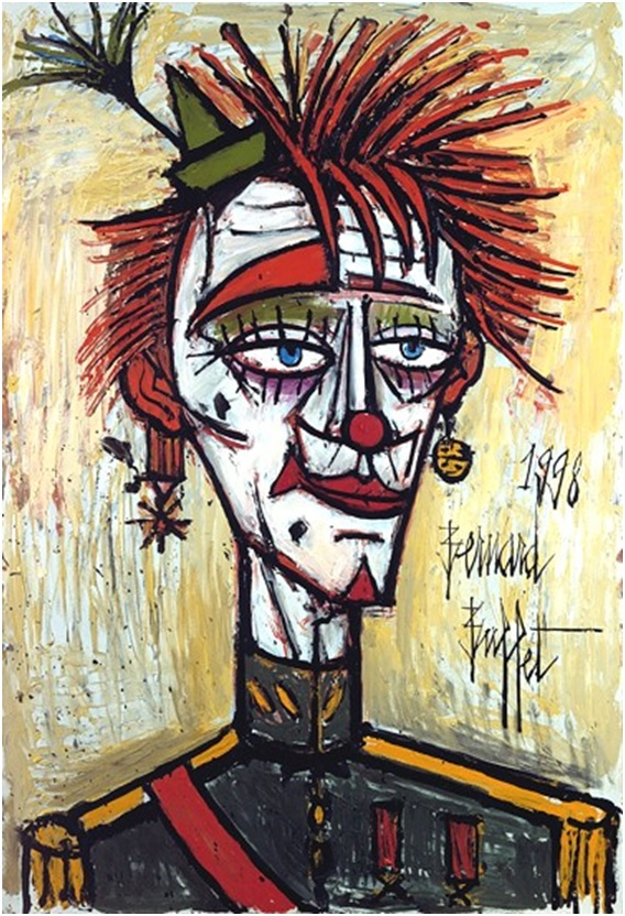 Clown militaire (1998) oil on canvas, 130 x 89 cm, Musee Bernard Buffet