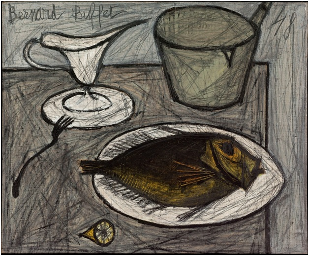 Nature morte au poisson(1948), oil on canvas, 54 x 65 cm, Museed'art modern de Paris