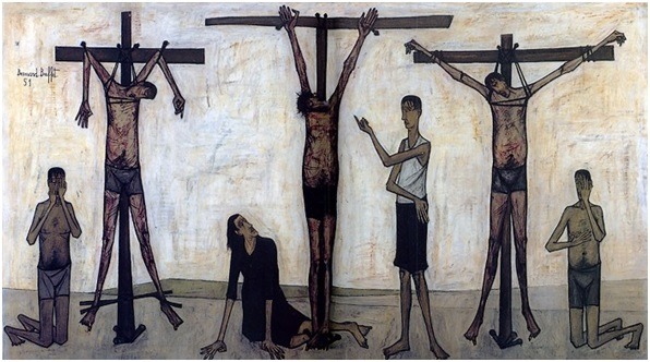 La Passion du Christ : crucifixion (1951), oil on canvas, 280 x 500 cm, Musee Bernard Buffet